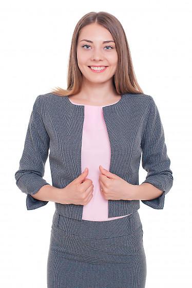 Жакет серый в черную лапку Деловая женская одежда фото