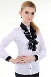 Фото Блузка белая с черным жабо Деловая женская одежда