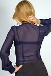 Фото Блузка темно-синяя с рюшью-кружевом. Вид сзади Деловая женская одежда
