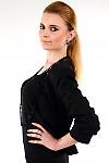 Фото Болеро черное трикотажное вид слева Деловая женская одежда