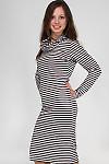 Фото Платье трикотажное в полоску вид сбоку Деловая женская одежда