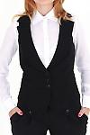 Фото Жилетка черная с воротником вид спереди Деловая женская одежда