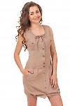 Платье льняное коричневое с карманами Деловая женская одежда