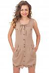 Купить льняное коричневое платье с карманами Деловая женская одежда
