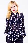 Фото Блузка из шифона синяя в горох Деловая женская одежда