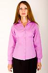 Фото Блузка из сиреневого хлопка с длинным рукавом Деловая женская одежда