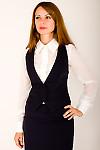 Фото Жилетка в офис синяя Деловая женская одежда