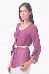 Купить блузку сиреневую с защипом Деловая женская одежда
