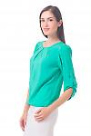 Купить блузку бирюзовую с защипами Деловая женская одежда