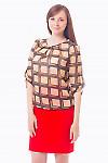 Блузка коричневая в квадратики Деловая женская одежда