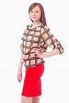 Купить Блузку коричневую в квадратики Деловая женская одежда