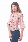 Купить блузку на резинке в розовые цветочки Деловая женская одежда