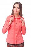 Блузка розовая с защипами впереди Деловая женская одежда