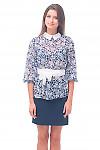 Купить блузку синюю с белым воротником Деловая женская одежда
