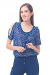 Фото Блузка синяя в белую пику Деловая женская одежда