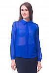 Блузка ярко-синяя с бантовой складочкой Деловая женская одежда