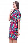 Купить платье красное в цветы со складками Деловая женская одежда