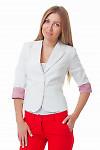 Жакет молочный с полосатой манжетой Деловая женская одежда