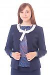 Жакет синий с белым бантиком Деловая женская одежда