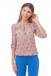 Блузка из розового шифона в голубой цветок Деловая женская одежда