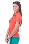 Купить блузку коралловую с горизонтальными складочками Деловая женская одежда