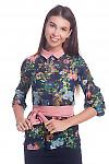 Блузка синяя с бежевым воротником Деловая женская одежда