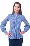 Блузка в синюю клетку со стойкой Деловая женская одежда