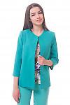 Кардиган бирюзовый короткий с карманами Деловая женская одежда