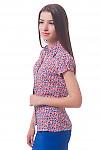 Купить блузку в оранжево-синий цветок Деловая женская одежда