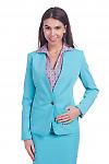 Фото Жакет без воротника бирюзового цвета Деловая женская одежда