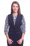 Жилет синий удлиненный Деловая женская одежда