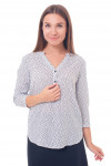 Блузка белая в мелкую синюю ромашку Деловая женская одежда фото