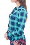 Купить блузку бирюзовую в крупную клетку Деловая женская одежда фото