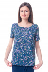 Блузка синяя с вырезом на спине Деловая женская одежда фото