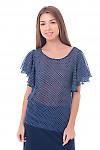Блузка синяя в горошек с крылышками Деловая женская одежда фото