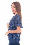 Купить блузку синюю в горошек с крылышками Деловая женская одежда фото