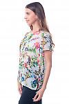 Купить футболку белую в зеленые цветы Деловая женская одежда фото