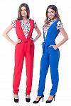 Купить синий и красный комбинезон Деловая женская одежда фото