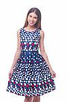 Платье синее в красно-белый горох Деловая женская одежда фото