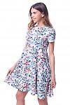 Купить платье трапеция в голубые розы Деловая женская одежда фото
