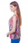 Купить топ зеленый в сиреневые цветы Деловая женская одежда фото