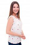Купить белую блузку в разноцветную капельку Деловая женская одежда фото