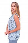 Купить блузку голубую в синие буквы Деловая женская одежда фото