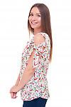 Купить блузку разноцветную с завязками на плечах Деловая женская одежда фото