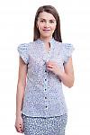 Блузка сиреневая в цветок со стойкой Деловая женская одежда фото