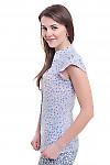 Купить блузку сиреневую в цветок со стойкой Деловая женская одежда фото