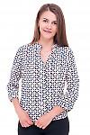 Блузка в персиковый узор с резинками сбоку Деловая женская одежда фото