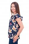 Купить синюю блузка с небольшим крылышком Деловая женская одежда фото