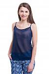 Топ темно-синий на тонких бретелях Деловая женская одежда фото
