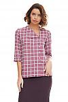 Купить блузку розовую с косым воротником Деловая женская одежда фото